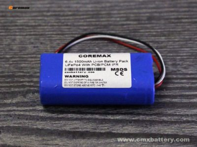 Lithium iron phosphate LiFePo4 6.4v 1500mAh 3.2v IFR18650 2S 1P battery pack