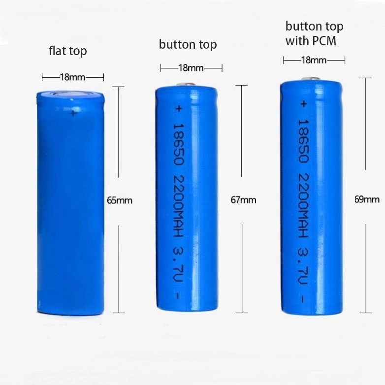 dimensions of button top 18650